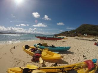 Kayaks on Beach, Moku Nui, Oahu