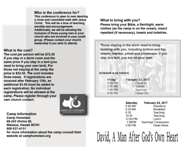 brochure for 2018 David a man after God's own heart 2
